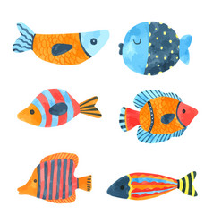 Fish cartoon watercolor cartoon hand drawn vector