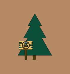 Flat icon design collection fir-tree with plaque vector