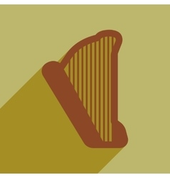 Flat web icon with long shadow harp vector