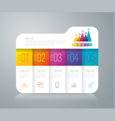 folder infographics design with 5 options vector image