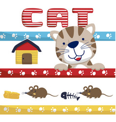 funny cat cartoon with twin mouse vector image
