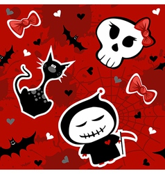 Funny halloween characters seamless pattern vector