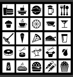 graphic flat icons of fast food vector image