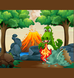 Green dragon hatching egg in forest vector