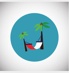 hammock on palm tree flat background vector image