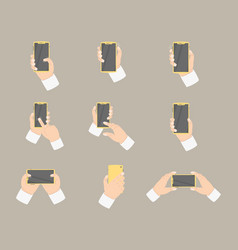hand collection holding smartphone with various vector image