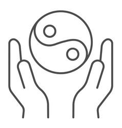 hands holding yin yang thin line icon yin yang vector image