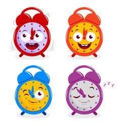 Happy alarm clocks vector