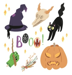 Happy Halloween set with cute objects vector
