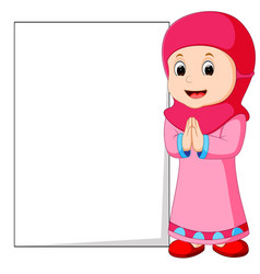 happy muslim girl cartoon holding blank sign vector image
