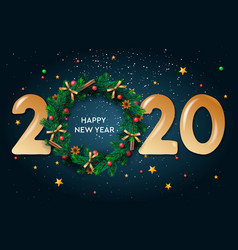 Happy new year 2020 text design greeting vector