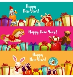Holiday gifts and toys banners set vector
