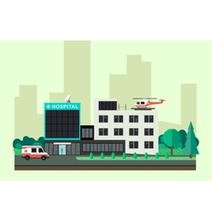 Hospital with ambulance car and helicopter vector