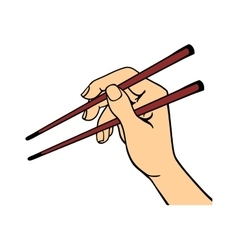 Human hand holding sushi sticks vector