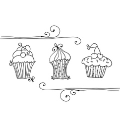 isolated set of cupcake vector image