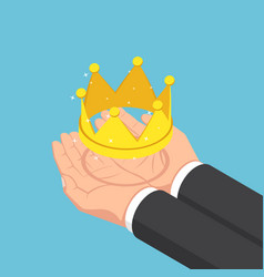 Isometric businessman hands holding golden crown vector