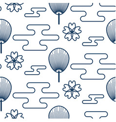 japanese fan pattern in blue and orange colors vector image vector image