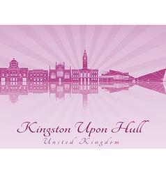 Kingston Upon Hull skyline in purple radiant vector