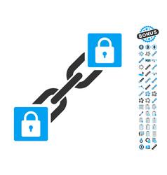 lock blockchain icon with bonus pictograms vector image