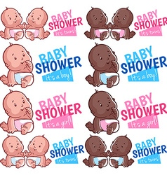 Logo template for baby shower boy girl and twins vector