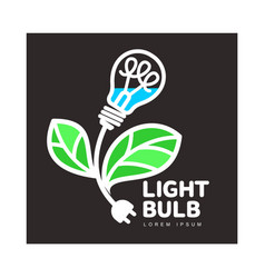 logo with light bulb as flower ecology growth vector image