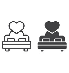 lovers bed with heart line and glyph icon vector image