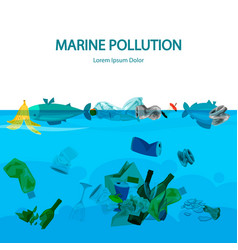 Marine pollution with water vector