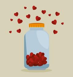 Mason jar with hearts charity donation vector