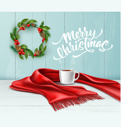 merry christmas lettering wreath scarf tea vector image