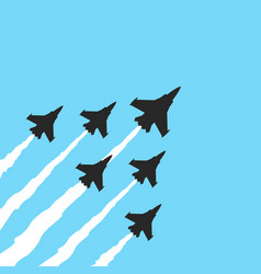 military fighter jets on a blue background vector image