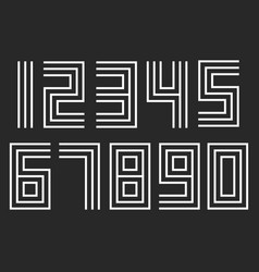 numbers set linear hipster deco parallel offset vector image