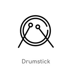 outline drumstick icon isolated black simple line vector image