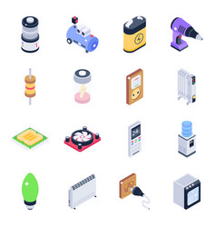 Pack technology equipment isometric icons vector