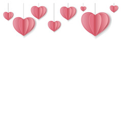 paper hearts border vector image