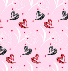 pattern pink heart texture vector image