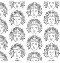 Pattern with hand drawn antique goddess vector