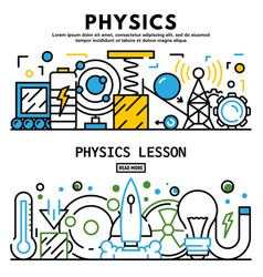 Physics lesson banner set outline style vector