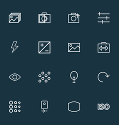 Picture icons line style set with photographing vector