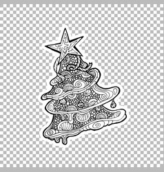 pine or fir tree ornate sticker vector image