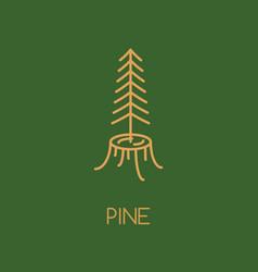 pine tree logo icon design line style woods vector image