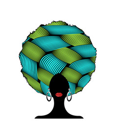 Portrait african curly woman silhouette in turban vector