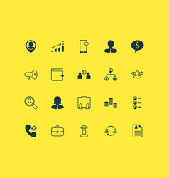 resources icons set with administrator chat vector image