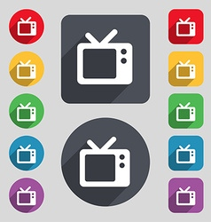 Retro TV icon sign A set of 12 colored buttons and vector image