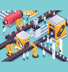 robotic conveyors isometric composition vector image