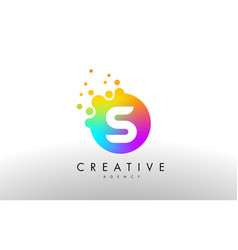 s rainbow dots letter logo letter design with vector image