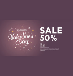 sale of valentines day 50 off creative flyer vector image