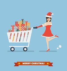 santa woman push a shopping cart with piles vector image