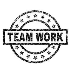 Scratched textured team work stamp seal vector