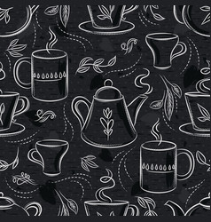 Seamless patterns with tea set cup teapot vector