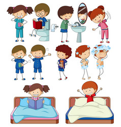 Set of doodle kids character routine activities vector